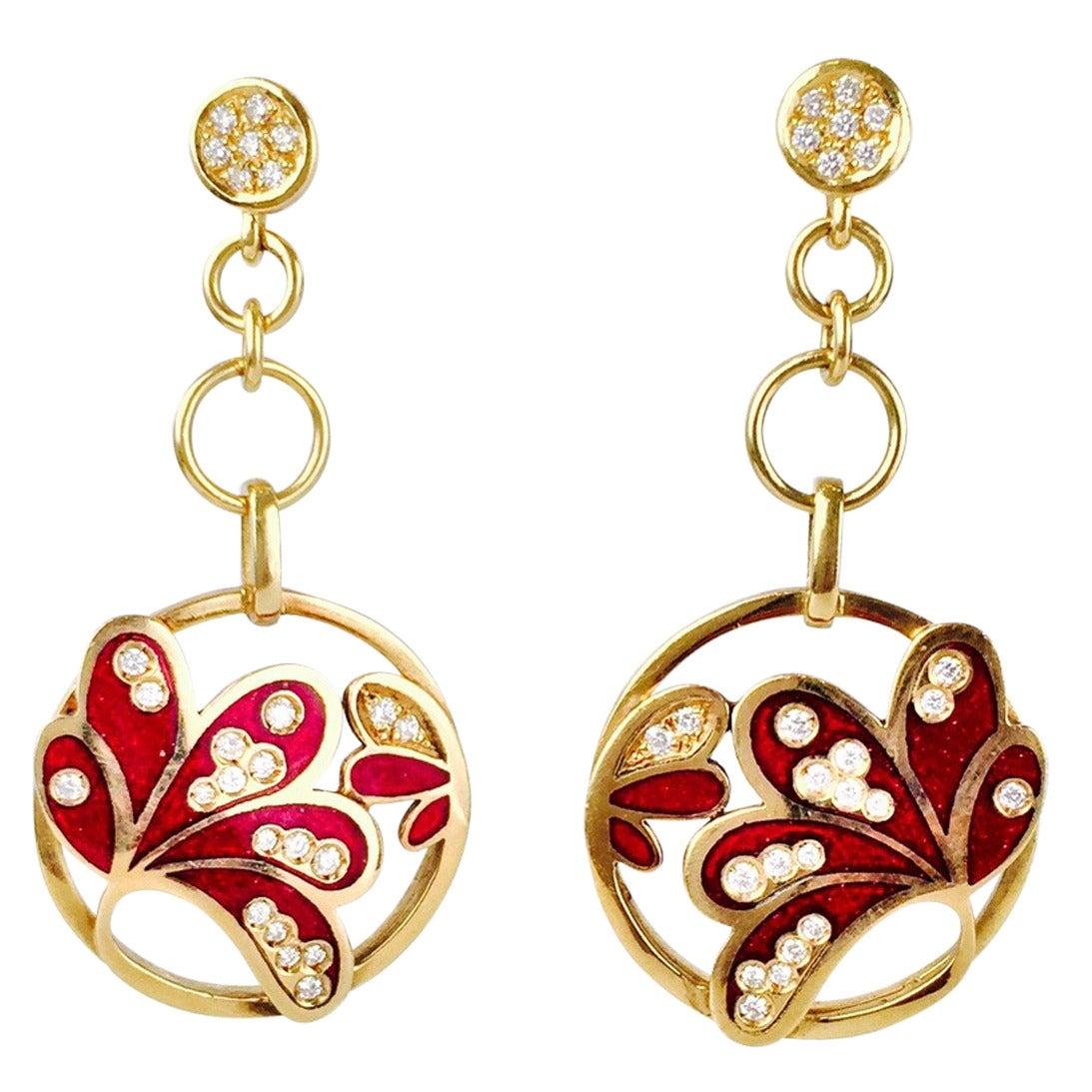Allesandro Fanfani Enamel Diamond Gold Dangle Earrings For Sale
