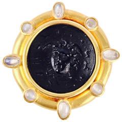 Carved Amethyst Moonstone Gold Medusa Brooch