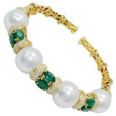 Pearl Emerald Diamond Gold Open End Bangle Bracelet