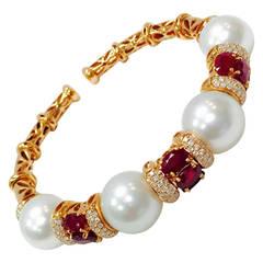 Pearl Ruby Diamond Gold Open End Bangle Bracelet
