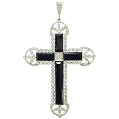 Antique Edwardian Onyx Diamond Platinum Cross Pendant