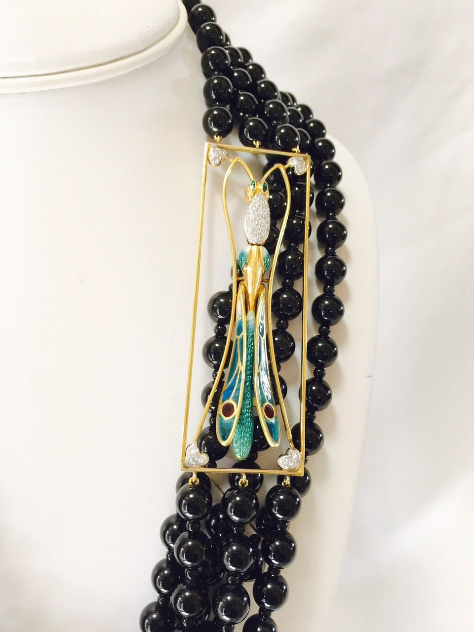 Contemporary Plique a Jour Dragonfly Onyx Beads Necklace For Sale
