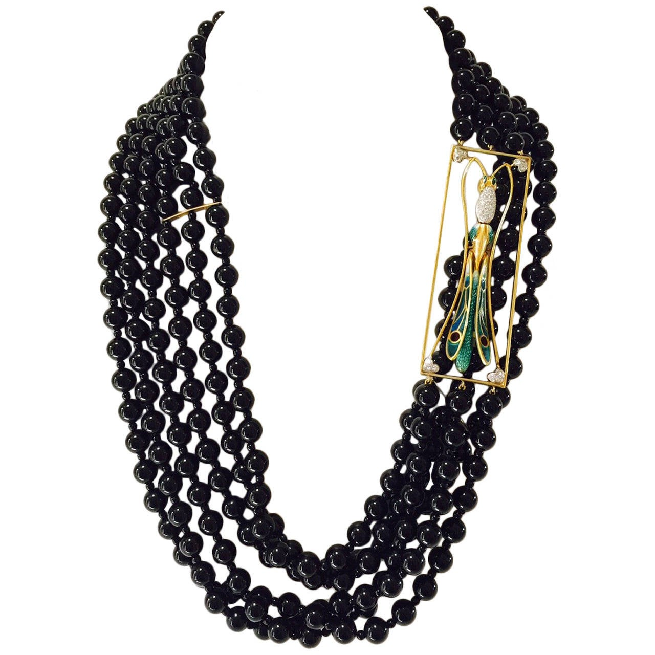 Plique a Jour Dragonfly Onyx Beads Necklace For Sale
