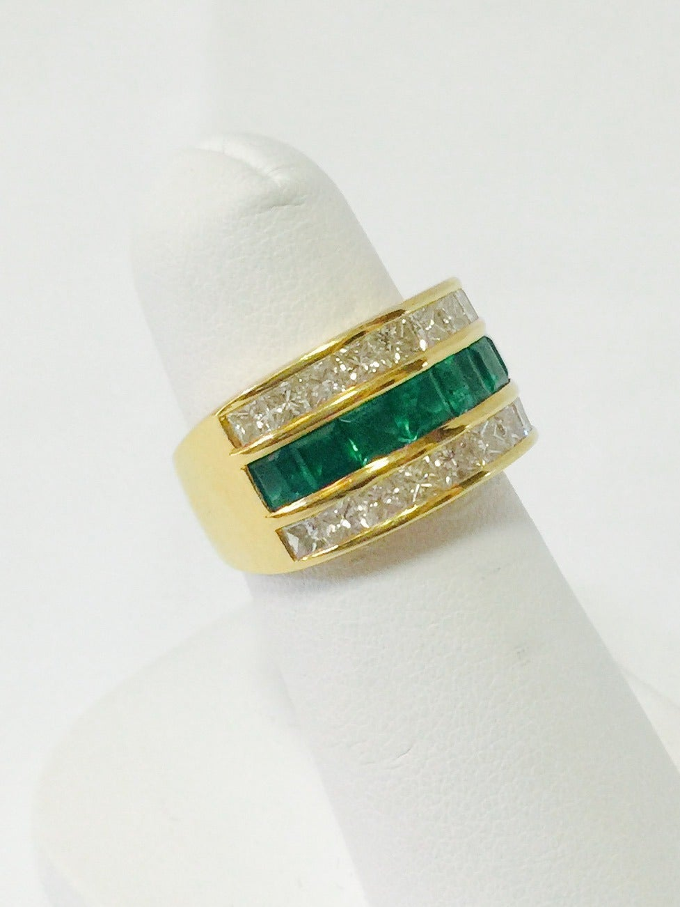 emerald tapered band ring at 1stdibs
