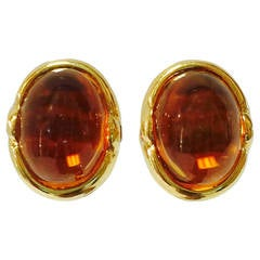 Palmeira Cabochon Citrine Topaz Gold Earrings