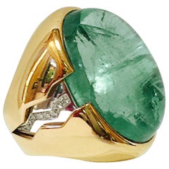 Two-Tone Emerald Diamond Gold Ring