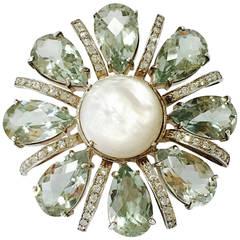 New Maria Hamilton Green Amethyst Swarovski Crystal Sterling Flower Ring