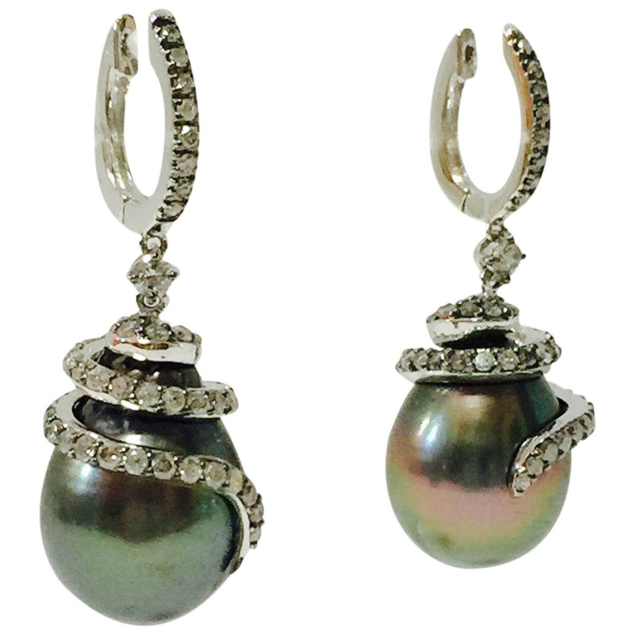 18 Karat Tahitian Pearl and Diamond Earrings For Sale
