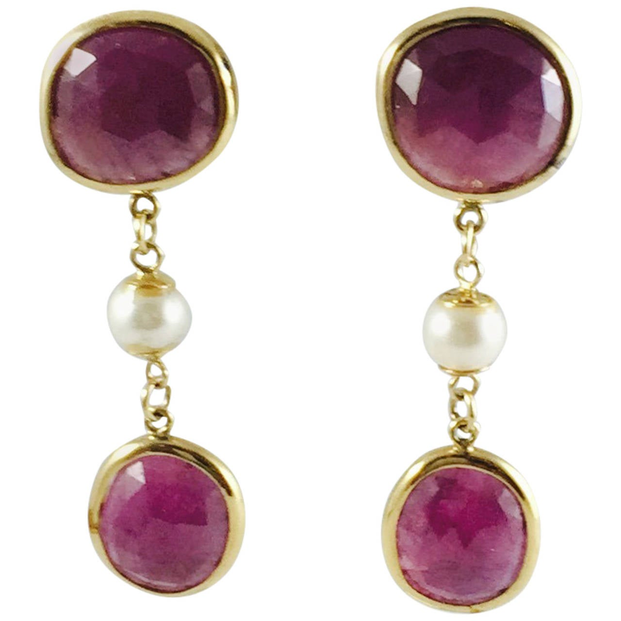gorgeous pearl ruby gold dangle earrings for sale at 1stdibs