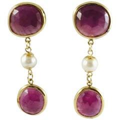 Gorgeous Pearl Ruby Gold Dangle Earrings