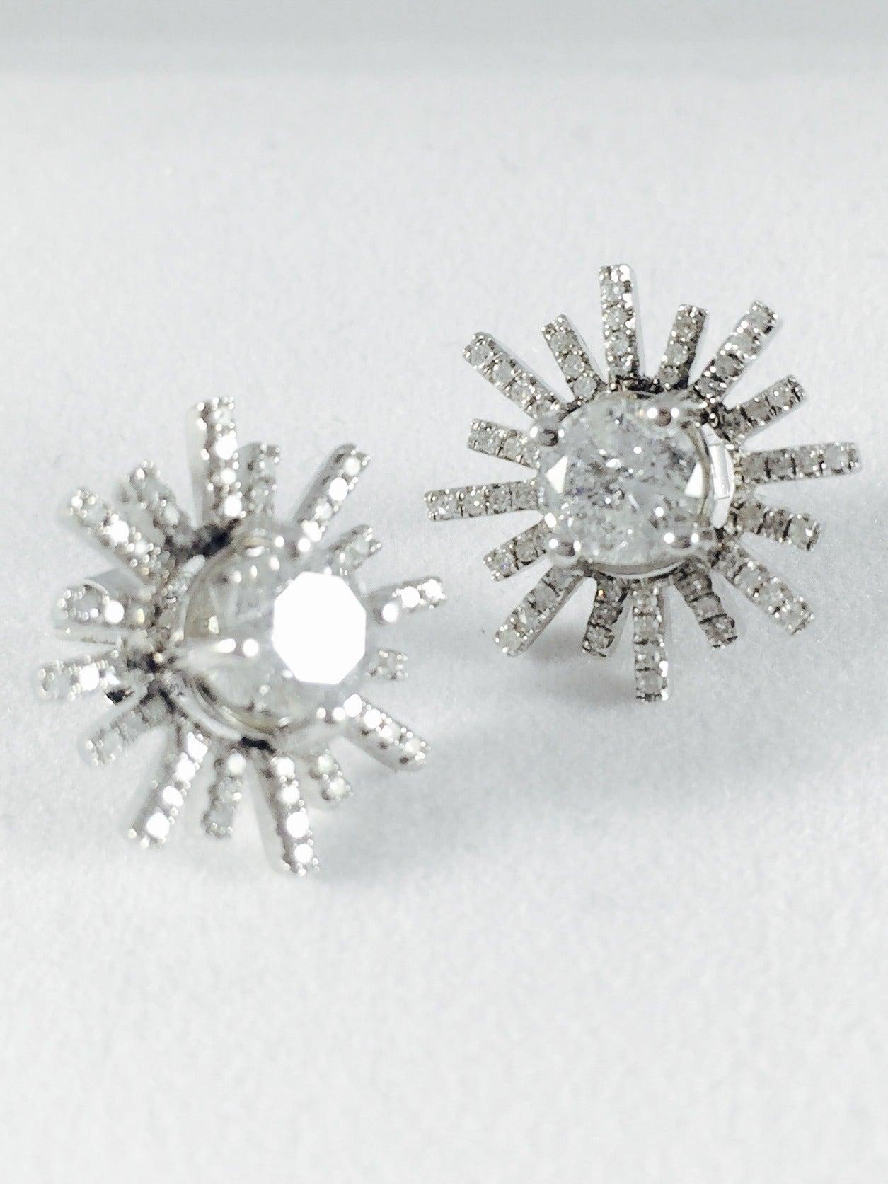 Diamond Gold Starburst Stud Earrings 2