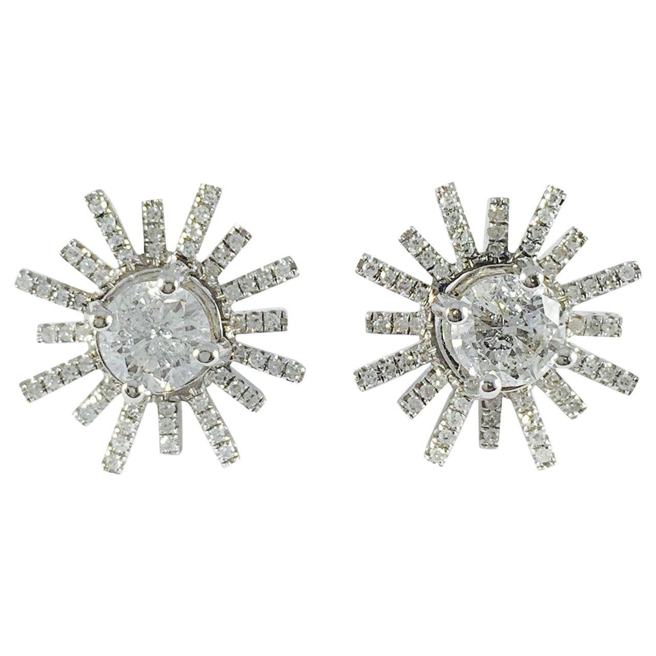 Diamond Gold Starburst Stud Earrings 1