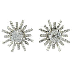 Diamond Gold Starburst Stud Earrings