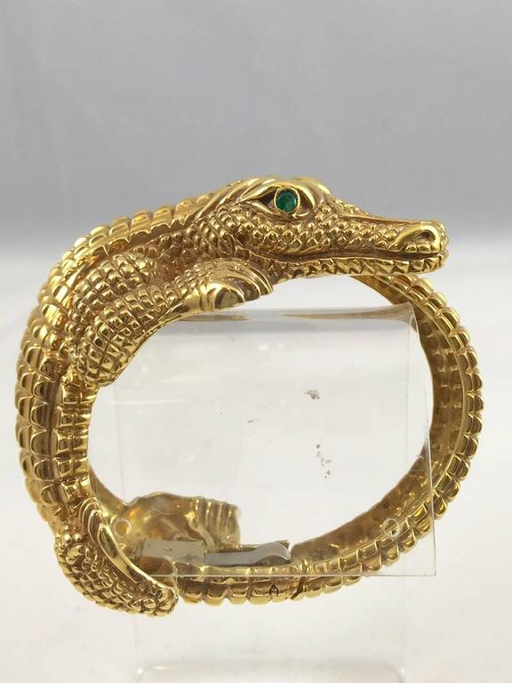 Contemporary Gold Alligator Bangle Bracelet For Sale