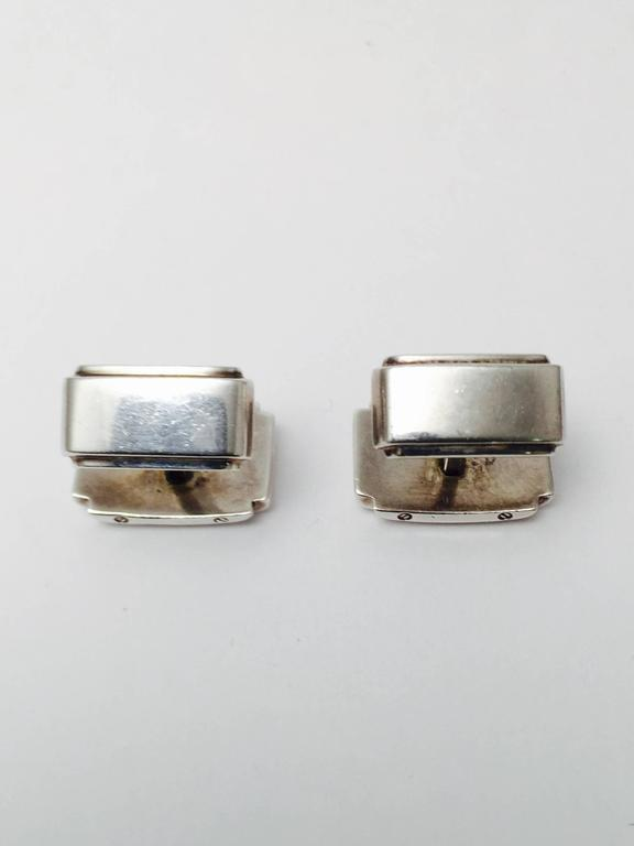 c628264df Tiffany & Co. Metropolis Sterling Silver Cufflinks In Good Condition For  Sale In Palm Beach