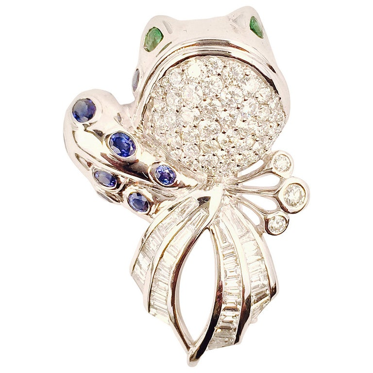 Sapphire Diamond Gold Frog Brooch with Tsavorite Eyes