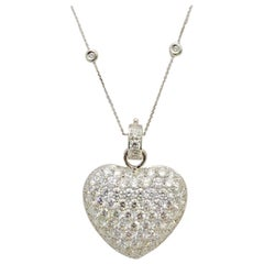 18 Karat Puffed Diamond Heart Necklace