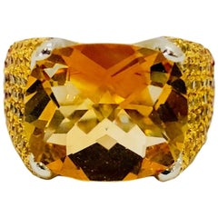 Ombre Yellow Citrine Ruby Red Sapphire Gold Ring