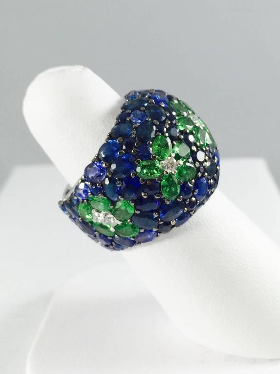 Contemporary Sapphire Tsavorite Diamond Band Ring For Sale