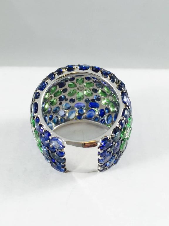 Women's Sapphire Tsavorite Diamond Band Ring For Sale