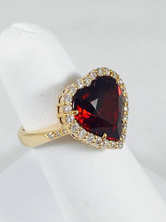 Rare Spessartite Garnet Diamond Gold Ring 2