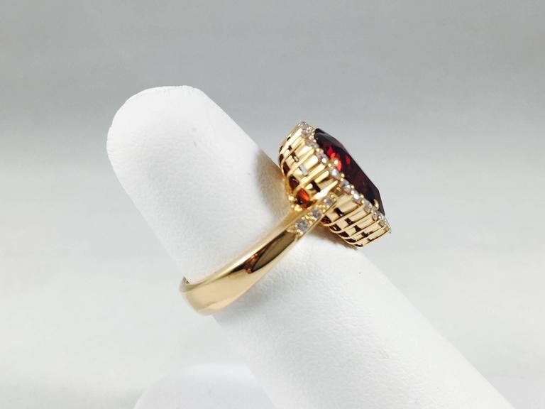 Rare Spessartite Garnet Diamond Gold Ring 3