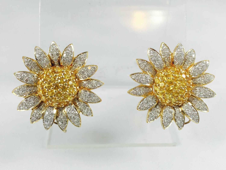 yellow sapphire diamond gold sunflower earrings for sale
