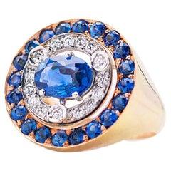 1.62 Karat Sapphires 0.33 White Diamonds 18 Karat Gold Modern Style Design Ring