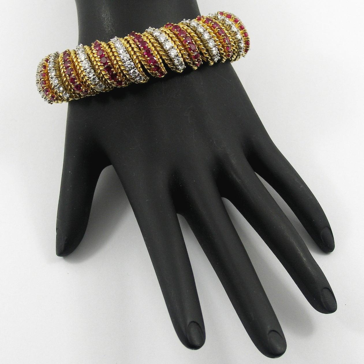 Women's Ruby Diamond Gold Barber Pole Bracelet For Sale