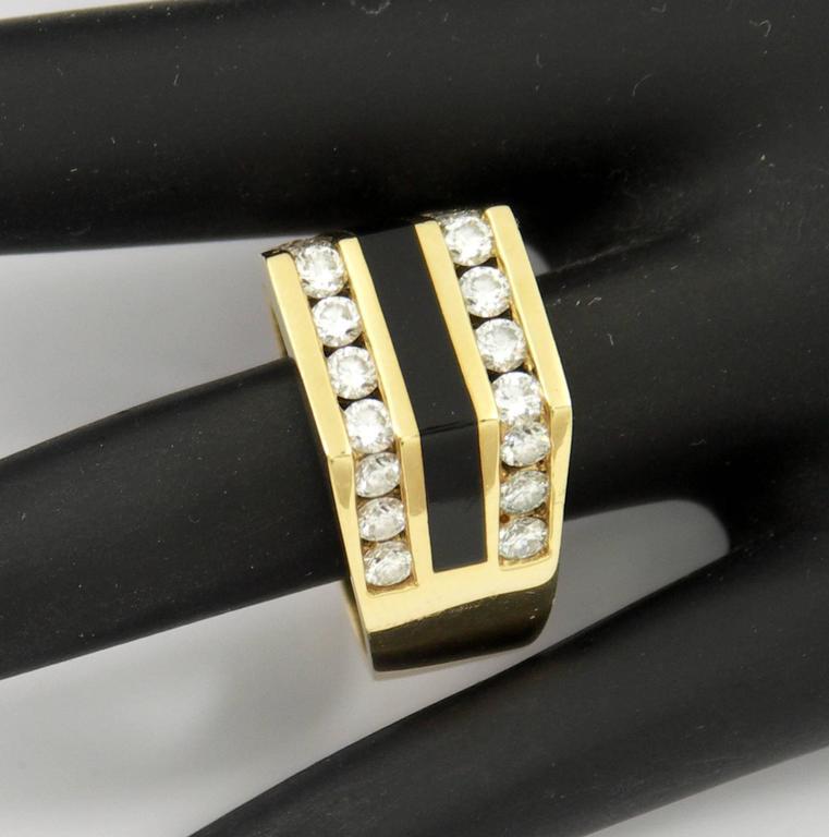 Bernard Passman Black Coral Diamond Gold Ring For Sale At