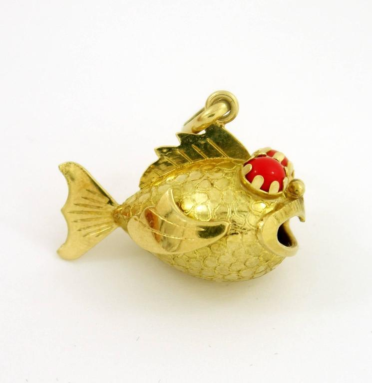 Whimsical gold fish charm for sale at 1stdibs for Gold fish charm