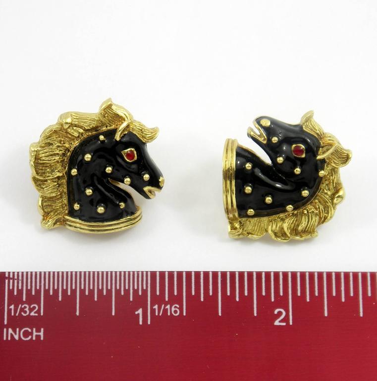 Hidalgo Enamel Gold Horse Earrings 6