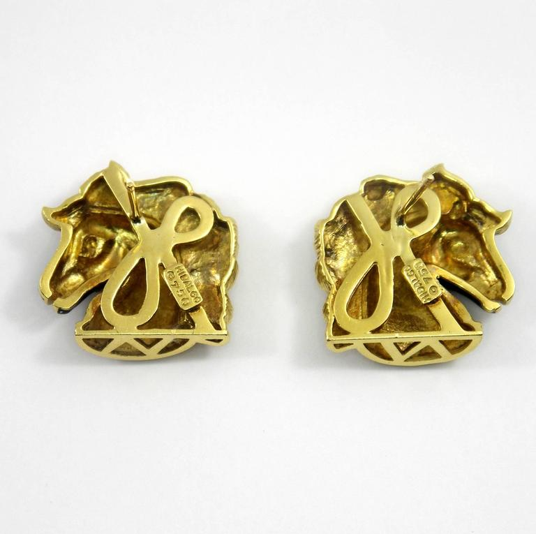 Hidalgo Enamel Gold Horse Earrings 4
