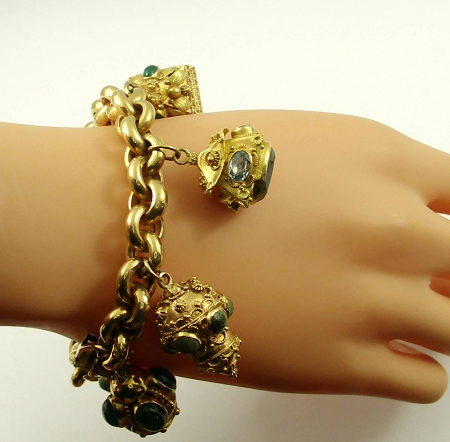 Gold Charm Bracelet Charms: Gold Italian Etruscan Inspired Charm Bracelet For Sale At
