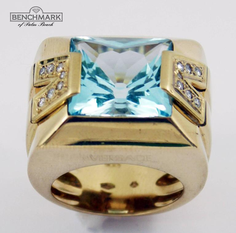 Versace Gold Topaz Diamond Ring In Excellent Condition For Sale In Palm Beach, FL