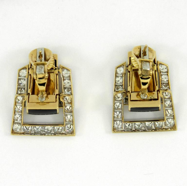 Women's or Men's David Webb Enamel Diamond Gold Hinged Earrings For Sale