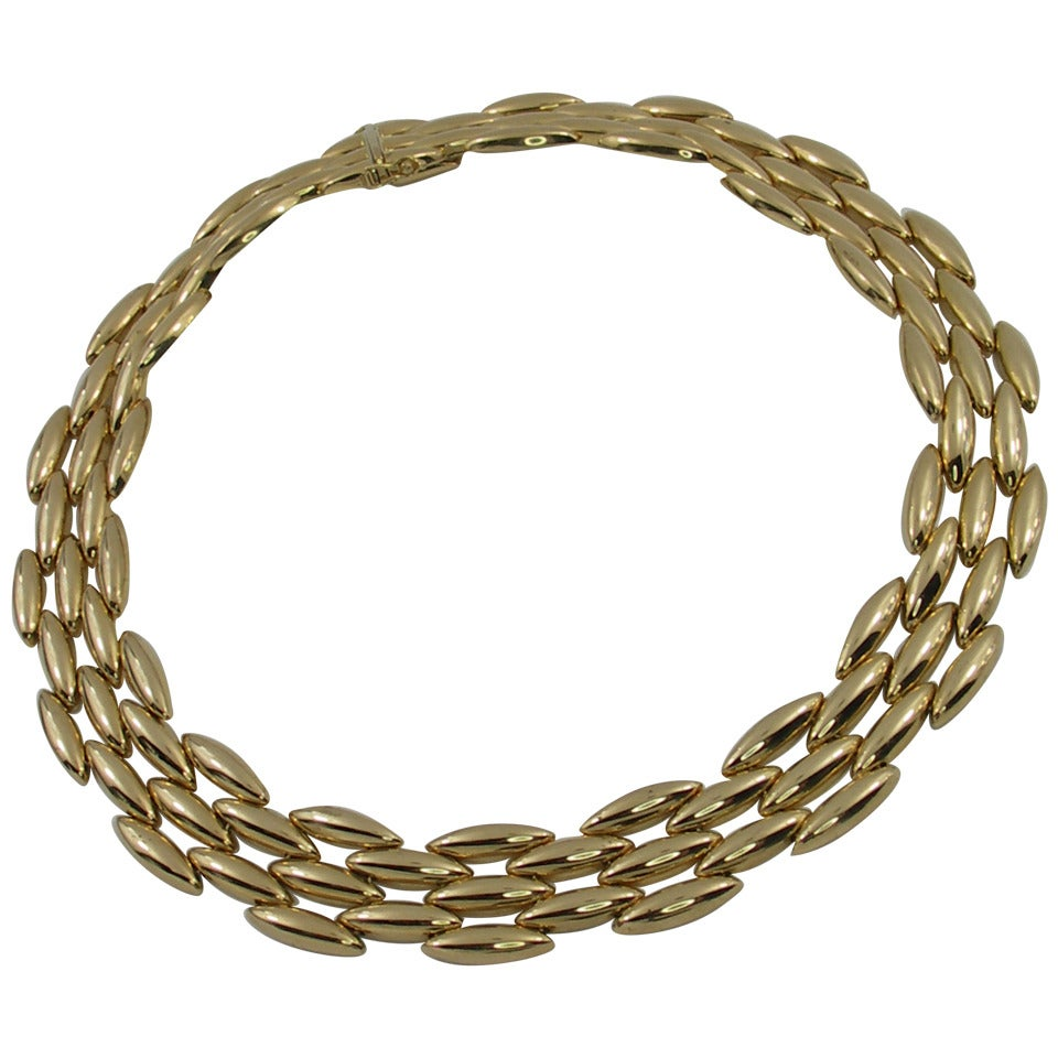 Cartier Gold Five Row Rice Link Necklace