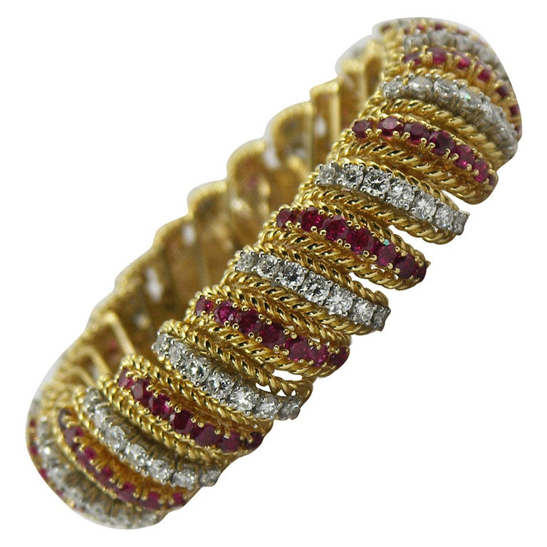 Ruby Diamond Gold Barber Pole Bracelet For Sale