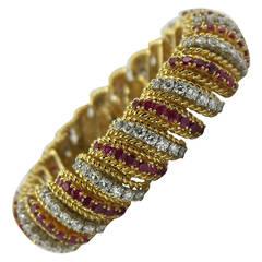 Ruby Diamond Gold Barber Pole Bracelet