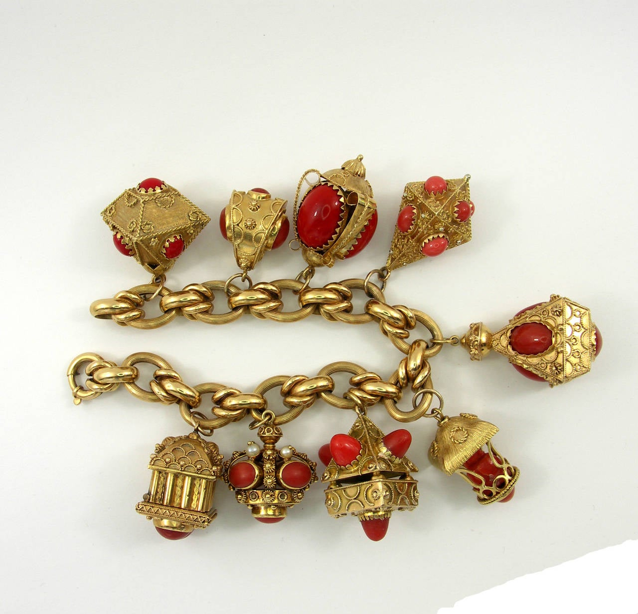 1960s italian gold coral charm bracelet for sale at 1stdibs