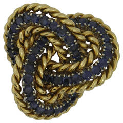 Tiffany & Co. Sapphire Gold Knot Brooch