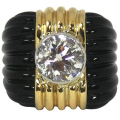 Charles Turi Onyx 4.50 Carat Diamond Gold Ring