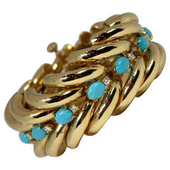 Split Design Turquoise Diamond Gold Bracelet