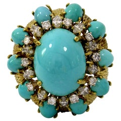 Beautifully Finished Diamond Turquoise Yellow Gold Ring