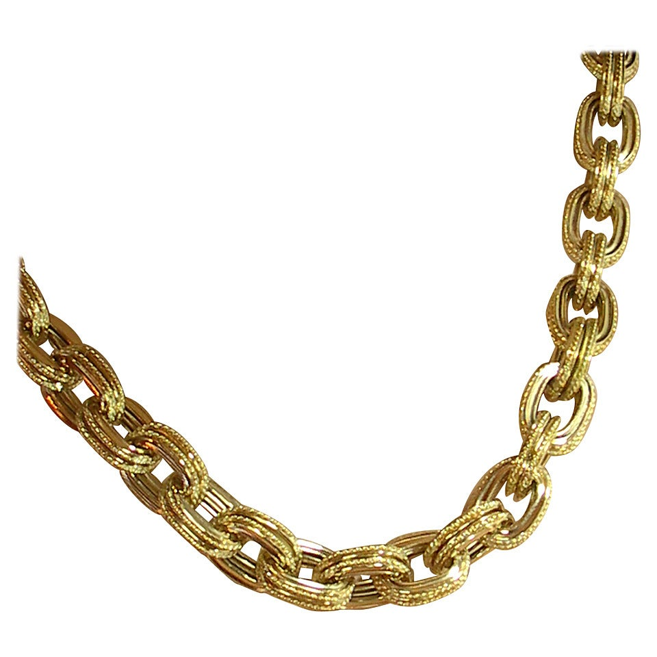 Rope Edged Gold Cable Link Necklace