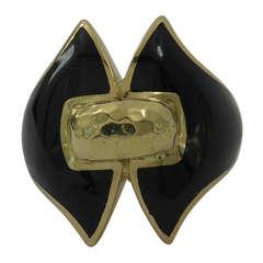 David Webb Gold and Black Enamel Ring