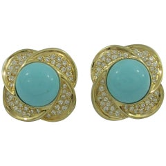 Turquoise Diamond Gold Clip Earrings