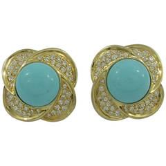 Turquoise Diamond Gold Clip Earrings