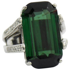 22 Carat Tourmaline Diamond Platinum Ring
