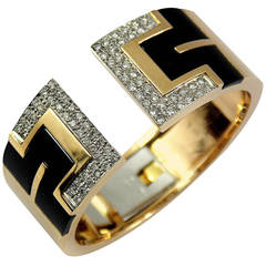 Black Enamel Diamond Gold Bangle Bracelet